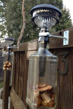 Out door solar lighting using Jack Daniels Bottles…..works  great on the patio, lights up the night.  AdellesAvenue.com
