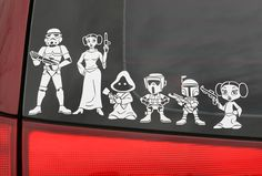 i hated family member stickers on people's cars. until today. star wars family stickers. they have indiana jones too.