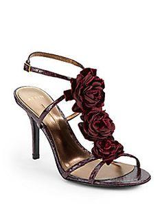 Aerin - Collande Rosette Patent Snakeskin Sandals