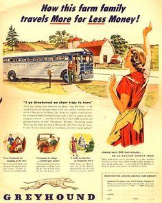 Vintage Greyhound Ad - 1950