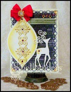 Holiday card idea from Spellblogger Linda Lucas using @Spellbinders dies, craft foils and embossing folders
