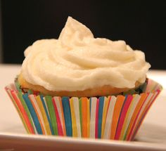 "DECADENT, Buttercream Frosting: The easiest, most decadent buttercream frosting you've ever whipped up. It's made with only four ingredients: Butter, milk, powdered sugar and vanilla. This will undoubtedly become your ""go-to"" frosting recipe!"
