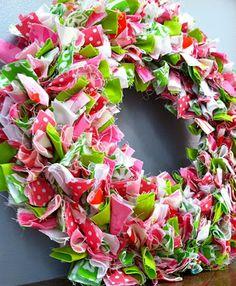 Pink & green fabric wreath