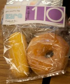 10th bday classroom treat. Would also be great for the 100th day of school. Except, thats a lot of donuts. Maybe munchkins?