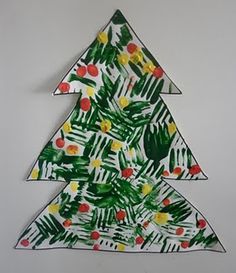 Christmas Tree Craft - painting with a fork