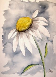 Watercolor Tattoo.. small but a sunflower instead. floral paintings, watercolor paintings, painting flowers, flower art, flower paintings, watercolor flowers, daisi, art posters, watercolor projects