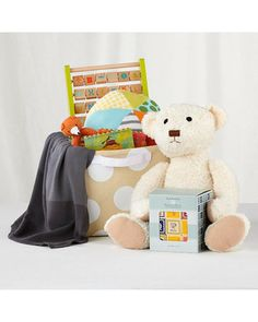 Gift giving made easy! A storage bin is filled with infant essentials, including a plush bear, block game, cozy blanket, cushy ball, and more. Click above to buy the set for parents of newborns.