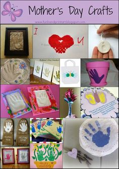 Mothers Day Crafts to make with a handprint!  Love these!