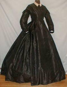 black silk taffeta, velvet trim