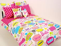 Barbie Doll Bedding Set  16 Scale Dolls  Pink by ElleLaLaBoutique