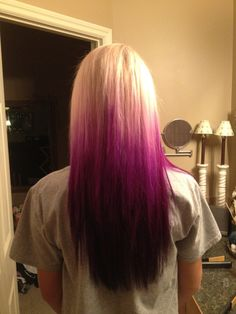 Want but in blue, my blonde hair changing into a light sky blue changing into a dark sea blue. Also has to be an ombre not just straight across.