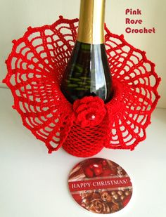 \ PINK ROSE CROCHET / wines, pink roses, rose crochet, wine bottles, crochet pattern, crochet idea