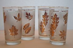 Vintage Set of Four Libbey 12oz. Frosted Glasses with Gold Leaves