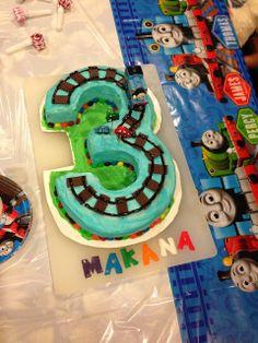 Thomas the Train birthday cake. #3yearoldboy #thomasthetrain @Christina Childress Knighton I want to make this for Reid!!!