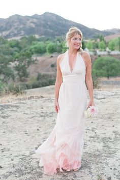 Pink ombre wedding dress.