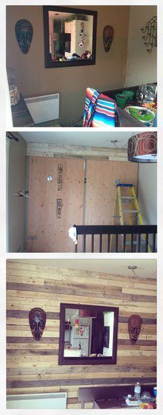 mur en bois de palette avant pendant après more home nouveau murs de  ~ Mur En Bois De Palette