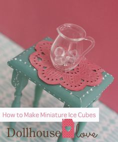 #DIY miniature ice cubes 2 Ways #Tutorial. The easiest way is glue gun blobs and the other way is more complicated. #miniatures #dollhouse