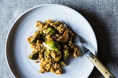Farro with Leeks and Balsamic Roasted Brussels Sprouts from @Food52