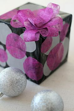 Solid wrapping paper, tissue paper + Mod Podge | Splash of Something