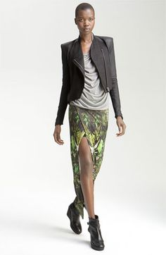 Helmut Lang Asymmetrical Goatskin & Jersey Jacket available at Nordstrom