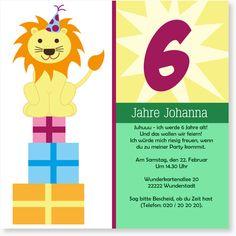 Kindergeburtstag Einladungen - Löwe in Pink