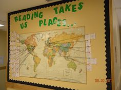students write title, author, and setting of book they read on a post it and stretch a piece of yarn to the location on the map.. great way to tie in reading & social studies.