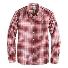 Thomas Mason for J.Crew shirt in 1892 rusted red check. Crinkly and soft, not too buttoned up. Cool.