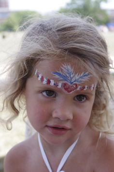 Patriotic Fourth of July Princess Heart Tiara Headband Face Painting :)