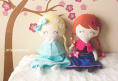 Snow Sister Anna Plush Doll Soft Frozen Anna by littlesweetoes, $42.00