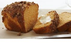 Orange Streusel Loaves made with Duncan Hines Orange Supreme cake mix and Creamy Classic Vanilla frosting. Streusel:   • 1 package Signature Orange Cake Mix   • 2 tbsp. brown sugar   • 1 tsp. ground cinnamon   • 1 tbsp. butter or margarine   • ½ cup finely chopped pecans   • Cake:   • 1 (3.4 oz) package vanilla instant pudding and pie filling   • 4 large eggs   • 1 cup sour cream   • ⅓ cup oil   • Glaze:   • ⅓ cup Classic Creamy Vanilla Frosting   • 2 tbsp. milk or orange juice
