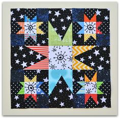 colorful modern wonky star quilt block