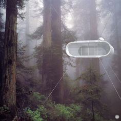 """This is actually WAY cooler than it looks in this picture. It's a real thing too, not just a weird rendering. """"Free and off-the-grid, Lifepod roams untethered utilizing technologies to keep powered and connected."""" modern living, tree houses, treehous, lifepod, trees, forest, architecture, homes, design studios"""