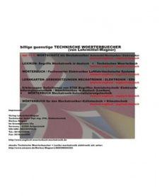 LINKS zu Lexika-Begriffe Mechatronik / Elektronik / EDV + Technische Woerterbuecher Deutsch Englisch (Verlag Lehrmittel Wagner)