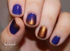 purple and bronze nail art