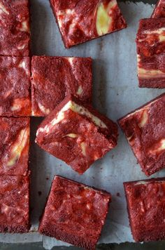 Ah! Red velvet cheesecake brownies! This recipe is so good :)           For the red velvet brownies: 8 tablespoons (1 stick) unsalted butter, melted, plus more for greasing pan 1 cup sugar 1/4 cup unsweetened cocoa powder 1/2 teaspoon vanilla extract 1 Tablespoon red food coloring 1/8 teaspoon salt 1/2 teaspoon white vinegar 2 eggs 3/4 cup all-purpose flour  For the cheesecake filling: 1 (8-oz.) package cream cheese, softened 3 Tablespoons sugar 1/2 teaspoon vanilla extract 1 large egg yolk