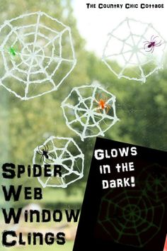 Glow in the Dark Spider Web Window Clings -- a fun addition to your windows this Halloween!
