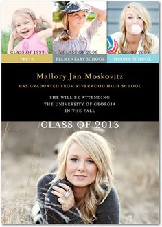 """Graduation Announcements with each """"class"""" (pre-school, elementary, middle, and high school)."""
