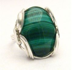 Oval Wire Wrap Malachite Dark Green White Tan stripes by JandSGems, $78.00