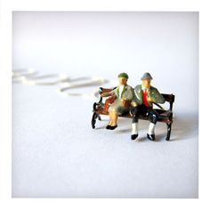 The Park Bench - Miniature Necklace - Sterling Silver Chain - Bavarian Couple Lena & Ludwig. €33.00, via Etsy.