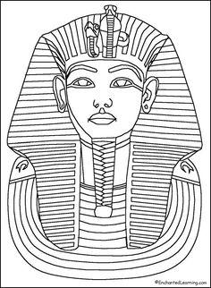 King Tut mask - outline
