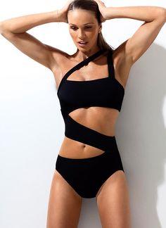Elle Macpherson black swimsuit