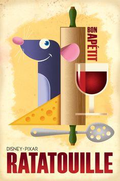 "Vintage Disney ""Ratatouille"" Poster by Eric Tan"