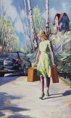 Jesper Palm - The Car, 2012. Oil on canvas, 150 x 90 cm.
