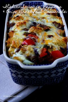 Need a quick brunch dish? Here you go!  Italian Sausage, Peppers & Onion Breakfast Casserole: Perfect Dish To Share With Friends