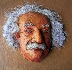 Paper Mache Einstein Display Mask - the post shows a fast and easy way to make a simple armature for a display mask out of wet paper and plastic wrap - with or without a layer of clay.