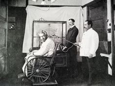 Electricity and mental disease.  A man receiving static sparks to the spine for psychosis from tabes dorsalis, a degenerative nerve condition brought on by syphilis. 1890s