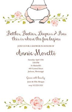 BABY SHOWER INVITATIONS, BABY BOTTOM GIRL, BELLA INK