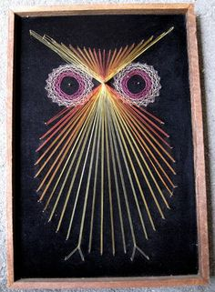 String painting! Popular in the 60's and 70's, my sister saw something like this at Urban Outfitters ($$$) Wood chalkboard paint nails hammer string= diy ($)