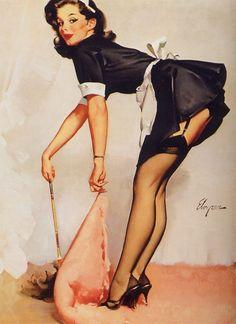 rug, maid, pin up art, tattoo, vintage girls