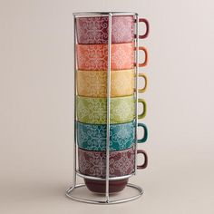 Beautiful rainbow henna stacking mugs ($15 from World Market)